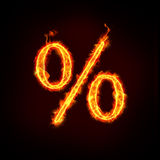 Percentage sign for sale. A burning percentage sign for sale price concepts Stock Photo