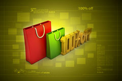 Percentage sign with shopping bag. In color background Vector Illustration