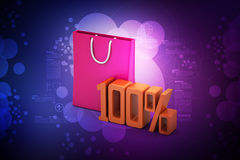Percentage sign with shopping bag Stock Photography