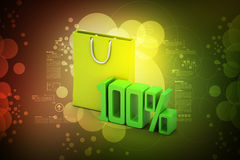 Percentage sign with shopping bag Stock Photos