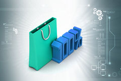 Percentage sign with shopping bag Royalty Free Stock Image