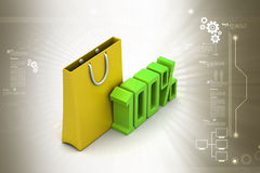 Percentage sign with shopping bag Royalty Free Stock Photo