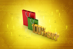 Percentage sign with shopping bag. In color background Royalty Free Illustration