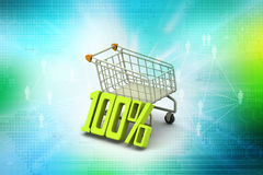 Percentage sign with shopping trolley Royalty Free Stock Images
