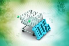 Percentage sign with shopping trolley Stock Image