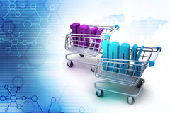 Percentage sign with shopping trolley Stock Photos