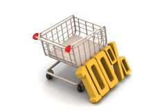 Percentage sign with shopping trolley Stock Photography