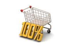 Percentage sign with shopping trolley Royalty Free Stock Image