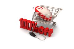 Percentage sign with shopping trolley Stock Images