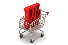 Percentage sign with shopping trolley Royalty Free Stock Photo