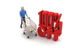 Percentage sign with shopping trolley Stock Photo