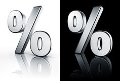 Percentage sign on white and black floor Stock Image