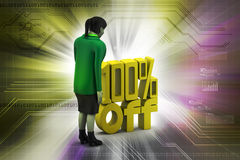 Percentage sign with woman Royalty Free Stock Image