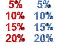 Percentage signs. 3D rendered image on a white reflective background Stock Photo