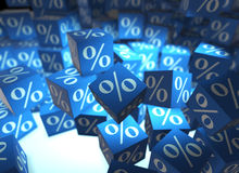 The percentage signs on cubes - 3d rendering Royalty Free Stock Photos