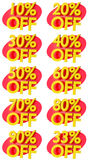 Percentage signs promotion offer for sales discount 3D illustration Royalty Free Stock Images