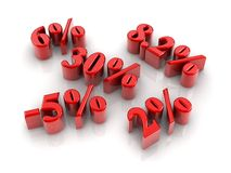 Percentage signs. Red reflective percentage sign  with white background Stock Photo