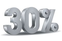 Percentage silver vector, 30. Vector of 30 percent in silver plated in white background Royalty Free Stock Image