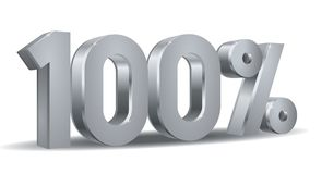 Percentage silver vector, 100. Vector of 100 percent in silver plated in white background Stock Photos