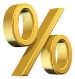 Percentage Symbol. 3D illustration of percentage symbol, isolated on a white background. Rendered in gold Royalty Free Stock Photography
