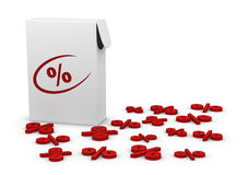 Percentage symbol. One box with many percentage symbols around it (3d render vector illustration