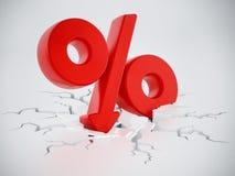 Percentage symbol with arrow on cracked ground. 3D illustration.  stock illustration