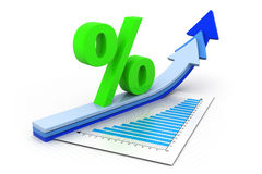 Percentage symbol and arrow graphs Stock Photos