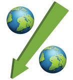 Percentage symbol concept. Earth globe and arrow as percentage symbol Stock Images