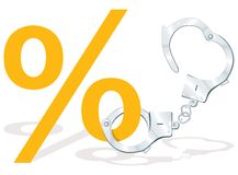 Percentage symbol with handcuffs. To show credit risks Stock Photo