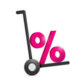 Percentage symbol and handtruck. Illustration design over a white background Royalty Free Stock Photo