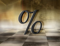 Percentage Symbol. Interest Rates Concept. Golden Percentage Symbol on abstract business background Royalty Free Stock Photos