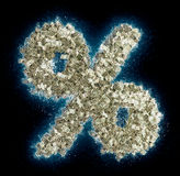 Percentage Symbol % made from Dollar bills Royalty Free Stock Images
