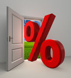 Percentage  symbol and white open door. With field and sky background Stock Images