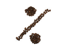 Percentage van geroosterde die koffiebonen wordt op witte backgr worden geïsoleerd gemaakt die Stock Afbeeldingen
