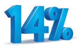 Percentage vector, 14. Illustration Vector of 14 percent blue color in white background Stock Illustration