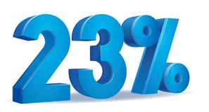 Percentage vector, 23. Illustration Vector of 23 percent blue color in white background Stock Image