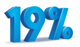 Percentage vector, 19. Illustration Vector of 19 percent blue color in white background Royalty Free Stock Photography