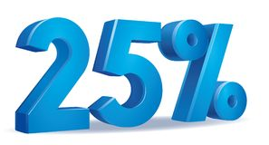 Percentage vector, 25. Illustration Vector of 25 percent blue color in white background Royalty Free Stock Image