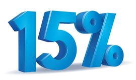 Percentage vector, 15. Illustration Vector of 15 percent blue color in white background Royalty Free Stock Photo