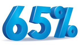 Percentage vector, 65. Illustration Vector of 65 percent blue color in white background Stock Images