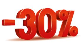 Percentage vector, -30. Illustration vector of -30 percent isolated in white background Royalty Free Stock Image