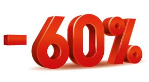 Percentage vector, -60. Illustration vector of -60 percent isolated in white background Stock Photography