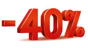 Percentage vector, -40 vector illustration