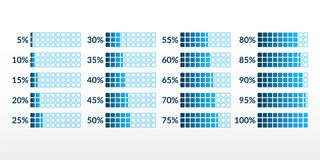 Percentage vector infographic icons isolated. 5 10 15 20 25 30 35 40 45 50 55 60 65 70 75 80 85 90 95 100 percent square charts. Set for business, finance, web royalty free illustration