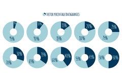 Percentage vector infographics.. Percent blue circle charts Royalty Free Stock Photography