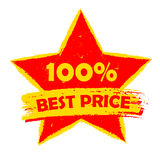 100 percentages best price in star, yellow and red drawn label Royalty Free Stock Photography