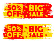 50 percentages big sale, yellow and red drawn labels. 50 percentages big sale - text in yellow and red drawn labels with stars, business shopping concept stock illustration