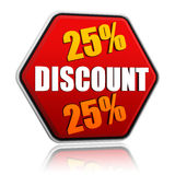 25 percentages discount in red hexagon banner Royalty Free Stock Images