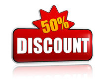 50 percentages discount 3d red banner with star Stock Image