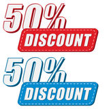 50 percentages discount in two colors labels, flat design Stock Photo